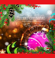 purple christmas ball with sparkles and fir vector image vector image