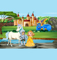 scene with knight and princess palace vector image