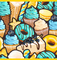 seamless pattern with blue and yellow sweets vector image vector image