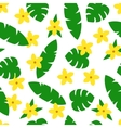Seamless pattern with tropic leaves and flowers on vector image vector image