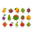 set funny fruits fresh food concept cartoon vector image vector image