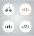 set of bike realistic symbols with road velocity vector image vector image