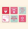 set of creative greeting cards happy valentines vector image