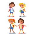set of schoolgirls first year pupil with backpacks vector image vector image