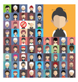 set people icons in flat style with faces 04 a vector image vector image