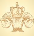 Sketch ram in crown with mustache vector image vector image