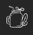 smoothie chalk white icon on black background vector image