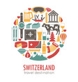 switzerland sightseeing landmarks and famous vector image