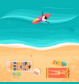 top view of exotic sea beach with people and vector image vector image