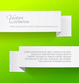 Two white sheets of paper on a green background vector image vector image