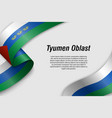 waving ribbon or banner with flag region russia vector image vector image