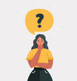 woman with question mark in think bubble vector image vector image