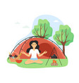 yoga and meditation retreat happy woman vector image