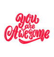 you are awesome lettering phrase on light vector image vector image