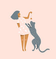 young girl playing with wild cat graphic design on vector image vector image