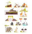 zoo animals cartoon icons collection vector image