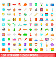 100 interior design icons set cartoon style vector image vector image