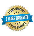 2 years warranty 3d gold badge with blue ribbon vector image vector image