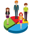 A circular graph with people vector image vector image