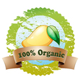 An organic label with a ripe mango vector image vector image