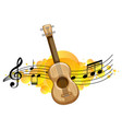 an ukulele or guitar with melody symbols vector image