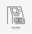atm machine with money flat line icon money vector image vector image