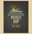 banner for whiskey shop with village landscape vector image
