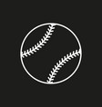 baseball line art icon on black background vector image