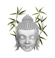 buddha face with green bamboo t-shirt and tattoo vector image