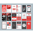 Business card templates Stationery design set Red vector image