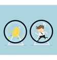 businessman and coin running in hamster wheel vector image vector image