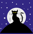 cat silhouette in background moon vector image vector image