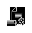 certification black icon sign on isolated vector image vector image