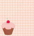 Cherry cupcake on pink houndstooth background vector image