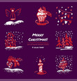 christmas hand drawn sketch icons on dark purple vector image vector image