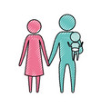 color crayon silhouette pictogram couple parents vector image vector image