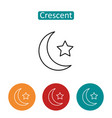 crescent moon and star outline icons set vector image vector image