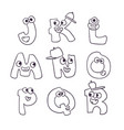 cute monsters doodle alphabet abc vector image vector image