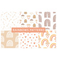 cute rainbows seamless patterns set vector image