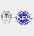 dot museum map marker icon and scratched vector image vector image