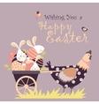 Easter bunnieschicken and easter eggs vector image vector image