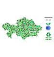 eco green composition kazakhstan map vector image vector image