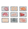 fresh meat in packages set supermarket box vector image