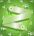 Green floral satin ribbon background vector image vector image