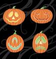 halloween jack o lanterns vector image vector image