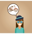 hipster girl bicycle vintage background icon vector image vector image
