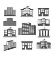 house icon set business buildings vector image vector image
