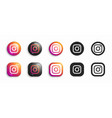 instagram modern 3d and flat icons set vector image