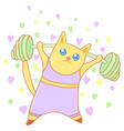 kawaii cat doing sport image design vector image