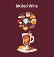 mulled wine ingredients recipe with glass and vector image